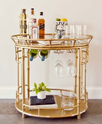 Trellis Home Hayworth Gold Bamboo Bar Cart