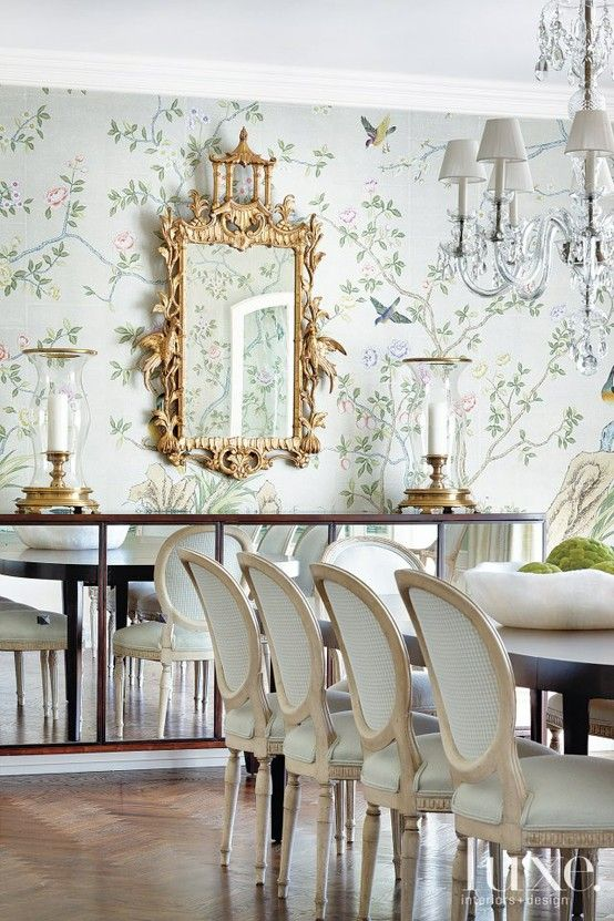 gravie wallpaper in dining via Luxe