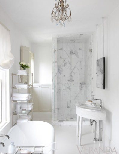 A lovely white marbles bathroom via Veranda