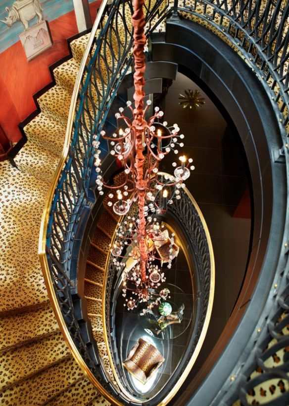 Animal Print Staircase in Hutton Wilkinsons home via Bazaar