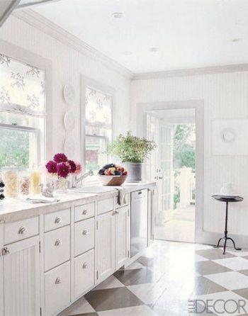 Black and White Floors in Hamptons Kitchen via Elle Decor