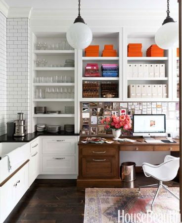 Desk in The Kitchen via House Beautiful