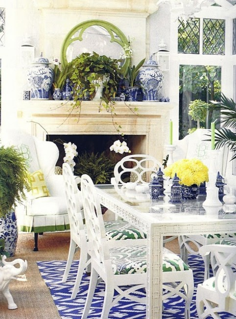 Ruthie Sommers Dining with Fracis Elkins Chairs via Chinoiserie Chic