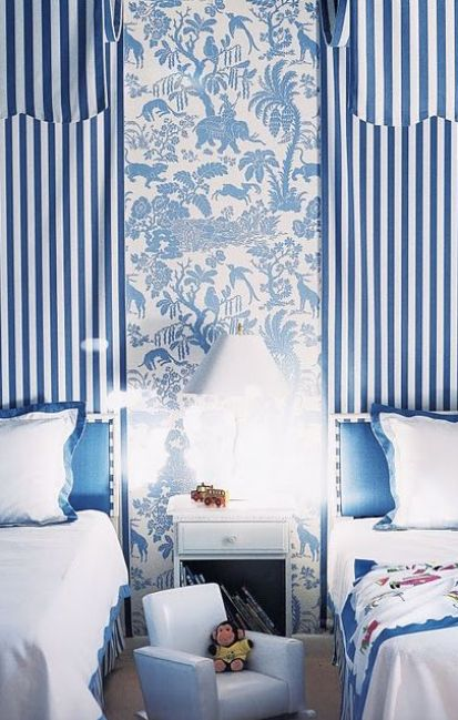 Shades of Blue and White in Twin Bedroom