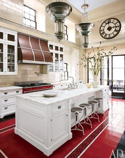 Steven Gambrel Red Kitchen via AD