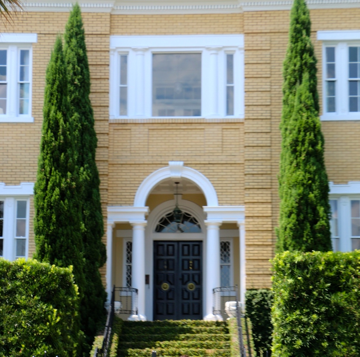 1219 #47641C  Steps Flanked By Cypress Trees Lead To This Amazing Black Front Door pic Cypress Exterior Doors 45511231