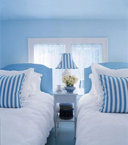 Valerie Smith Blue and White Twin Bedroom via HB