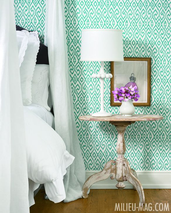 Wallpapered Bedroom by Shannon Bowers in Milieu Mag