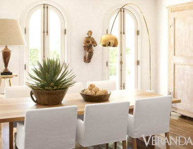 White and Rustic Dining room of Pamela Pierce via Veranda