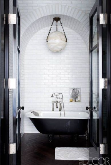 Black and White bathroom with Subway Tile via Elle Decor