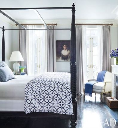 Brooke Shields Townhouse with John Robshaw Bedding via AD