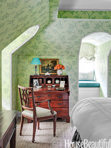 Farrow and Ball Ringwold Wallpaper in  this Nashville home by Markham Roberts