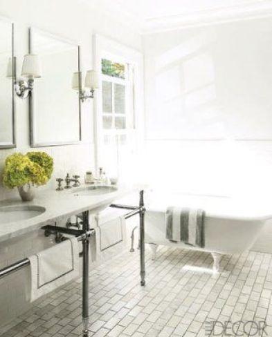 Marble Subway TIle for the Floor via Elle Decor