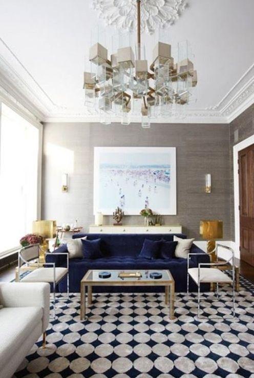 Pembridge Home by Peter Mikic in Elle Decor Navy Velvet sofa