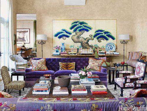 Purple velvet sofa by Ellen Niven in House Beautiful