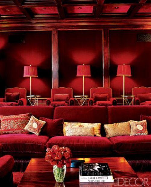 Red velvet movie room via Elle Decor