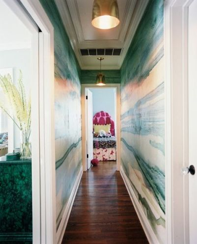 Watercolor Hallway in Lonny Magazine