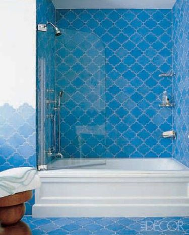Bright blue moroccan tile via Elle Decor