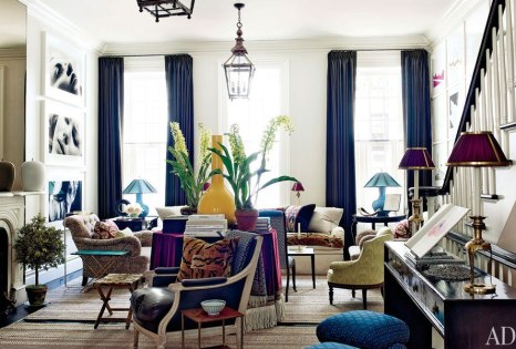 Eclectic and Colorful NYC townhouse by Jeffrey Bilhuber via AD