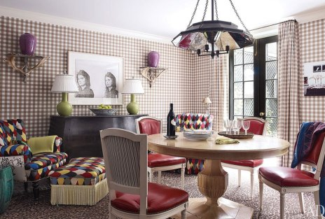 Gingham and Colorfully fun dining room by Jeffrey Bilhuber via AD