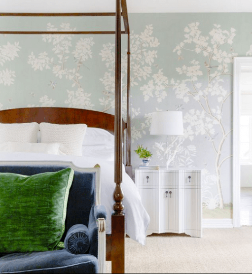 Gorgeous wallpaper with shades of green and blue via D Home Magazine