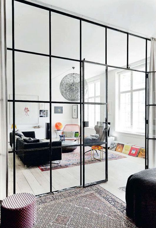 Industrial views the potted boxwood Interior glass partition systems