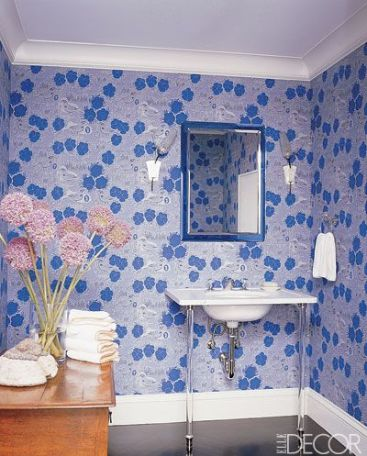 Pattern and Color in this bathroom by Katie Ridder via Elle Decor
