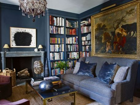 Aerin Lauders effortlessly chic library by Jacques Grange