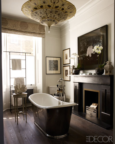 Bathroom with fireplace designed by Hubert Zandberg via ED