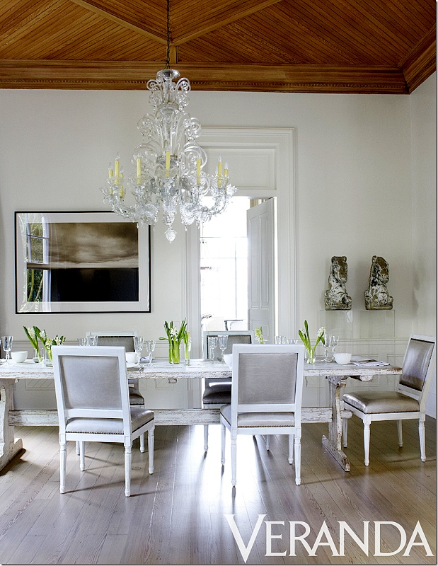 A Smart Shade Of Grey Leather On These Nancy Corzine Chairs With A Lovely  Distressed Sweedish Table. Photo Source: Veranda