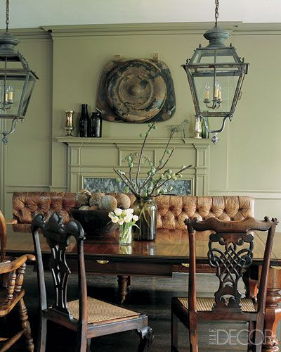 Elle Decor dining room in home of Glen Senk and Keith Johnson with leather bench