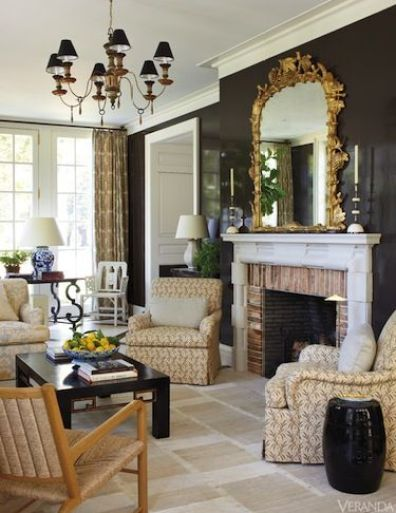 Fireplace in the Boxwood estate in Nashville