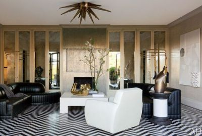 Herringbone black and white floors by Kelly Wearstler via AD