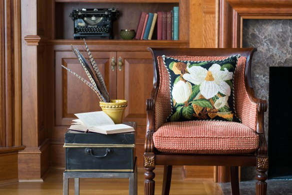 Magnolia on Black Needlepoint Pillow by Elizabeth Bradley Home