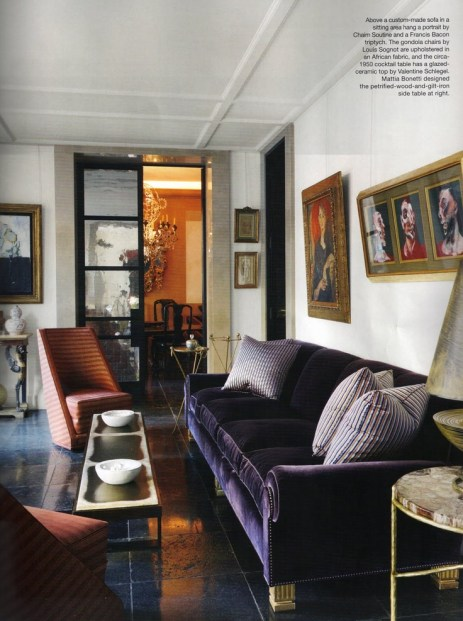 Navy sofa and living area from Jaques Grange