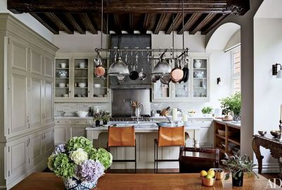 Net-a-Porter founder;s London kitchen with leather stools