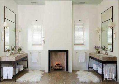 Rela Gleason bathroom fireplace via AD