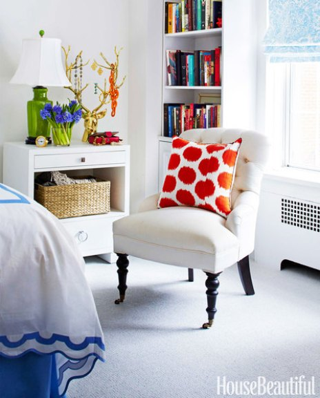 Bedroom chair by Lilly Bunn in House Beautiful