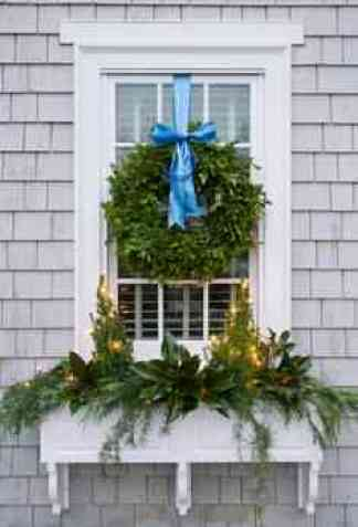 Window Box and Blue Ribbon Boxwood Wreath via ShineYourLight