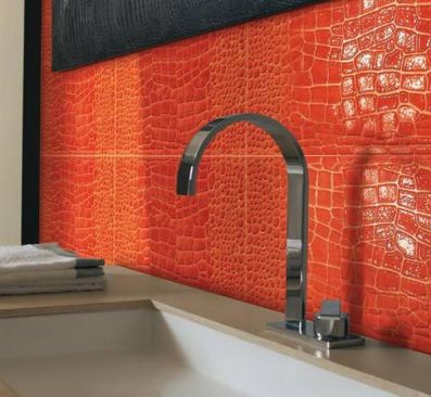 orange crocodile backs splash via Freshome