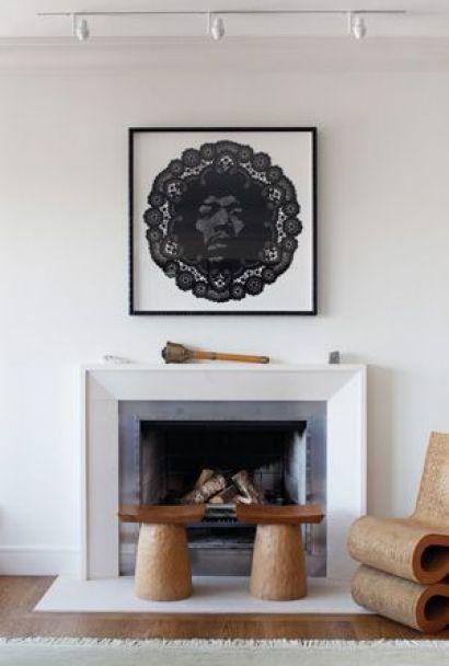 Fireplace area designed by Sheila Bridges