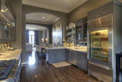 Gray kitchen with glass refrigerator via Decor Pad