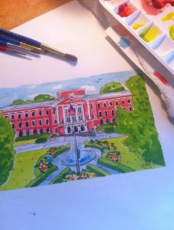 Watercolor of Meredith College by Dana Mahnke on Etsy Indigo Home