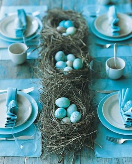 Blue Easter Decor via Shelerness