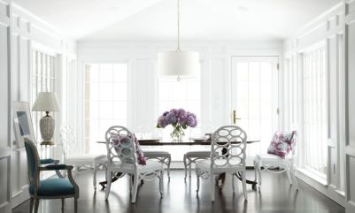 Francis Elkins chairs in teh dining room via Mary McGee Interiors