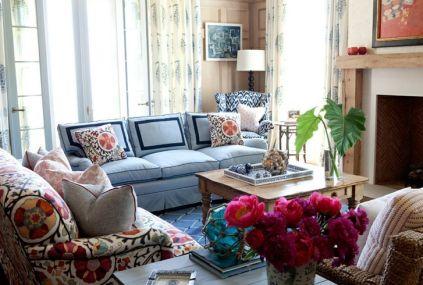 Sara Gilbane two tone blue sofa via my design chic
