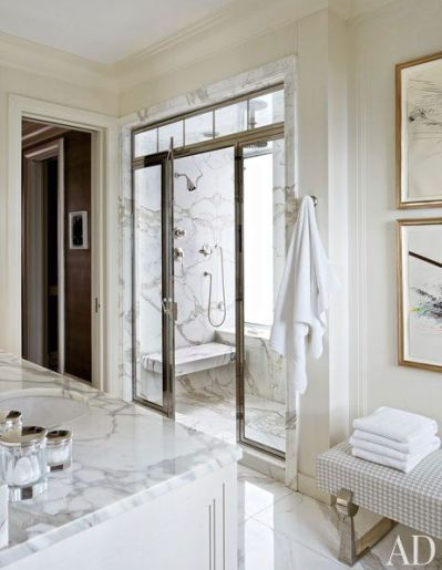 Shower in a home designed by Michael Smith via AD