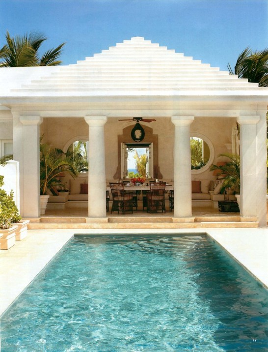 Open cabana with lovely columns
