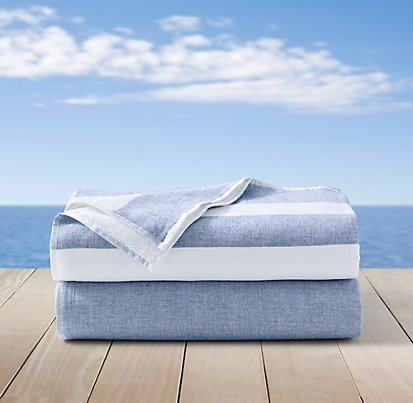 RH Summer Towels Blue and White