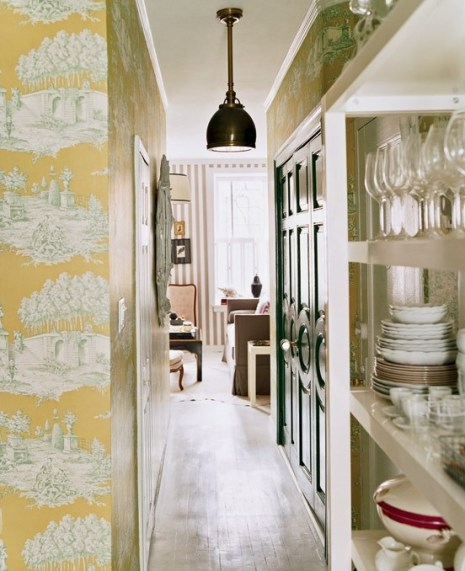 Tori Mellott wallpapered hallway via Domino